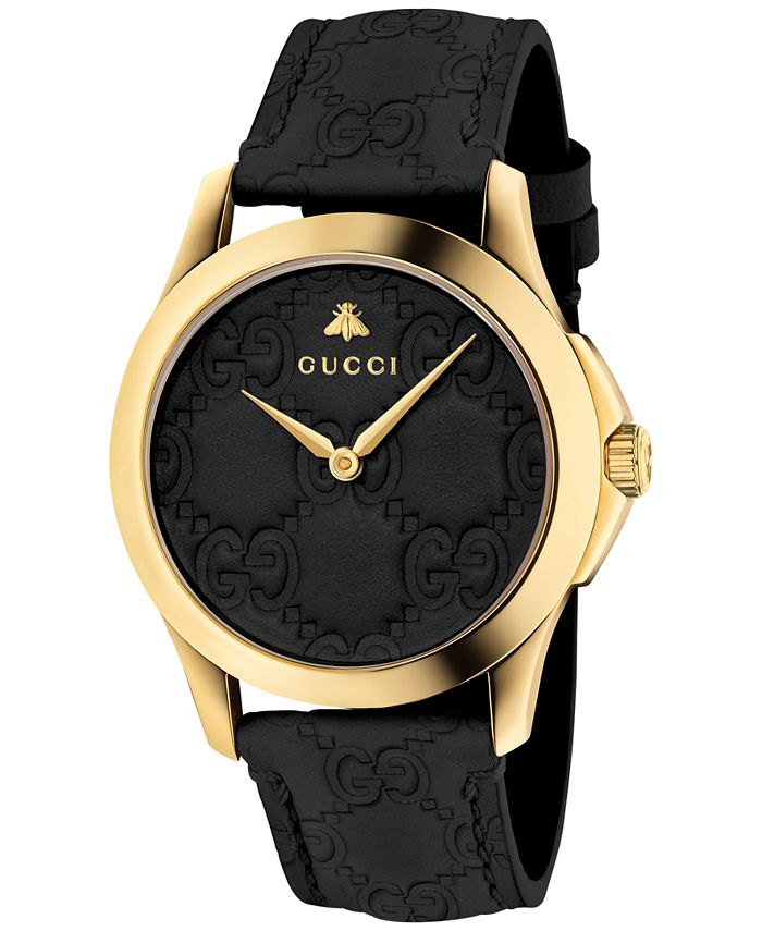 Gucci - Unisex Swiss G-Timeless Black Leather Strap Watch 38mm