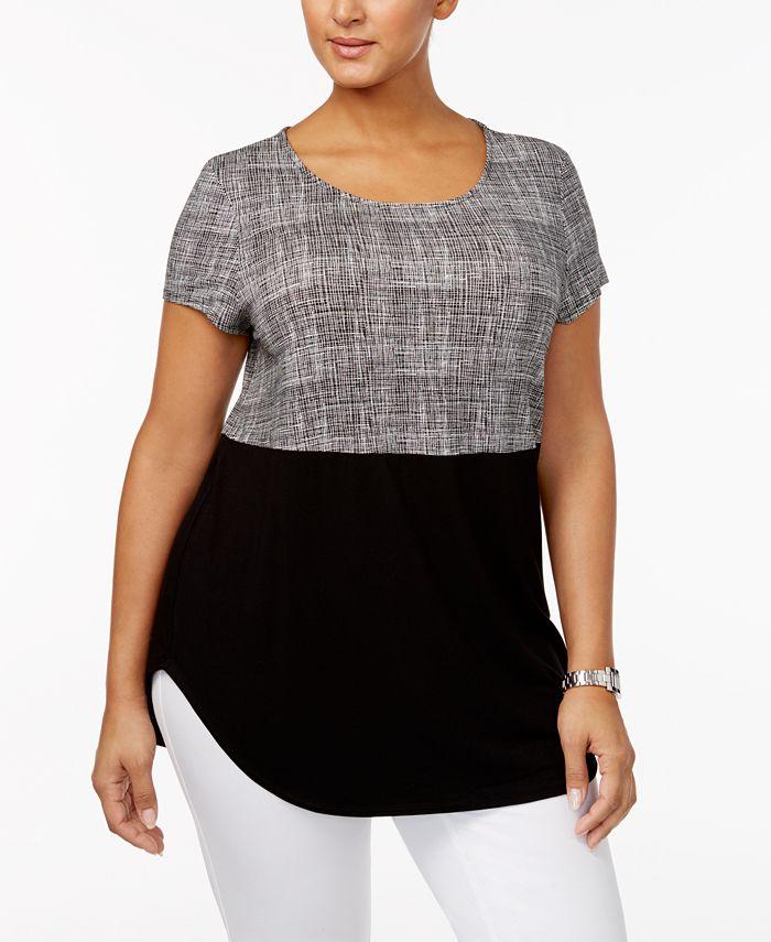 Alfani - Plus Size Printed Knit T-Shirt