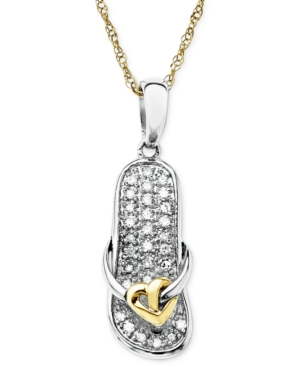 14k Gold and Sterling Silver Necklace, Diamond Accent Sandal Pendant