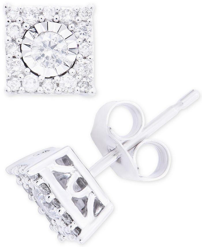 Macy's - Diamond Square Cluster Stud Earrings in 14k Gold