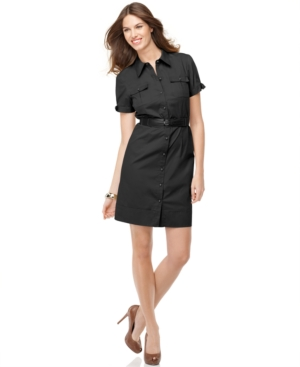 AGB Dress, Short Sleeve Military Belted Shirtdress
