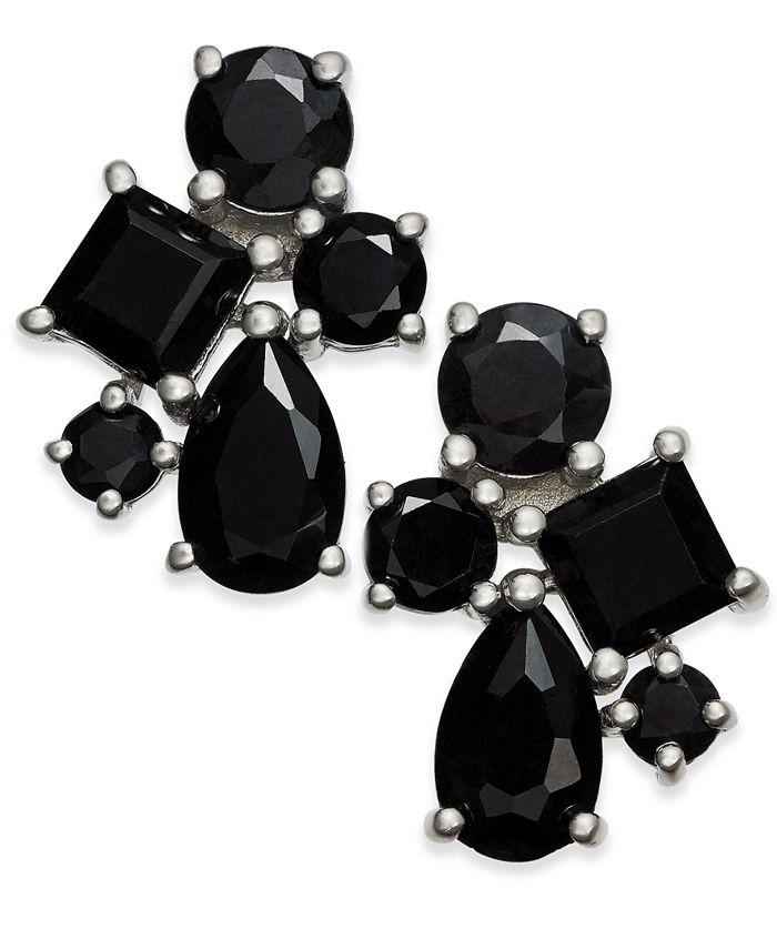 Macy's - Black Sapphire Cluster Stud Earrings (5-1/2 ct. t.w.) in Sterling Silver