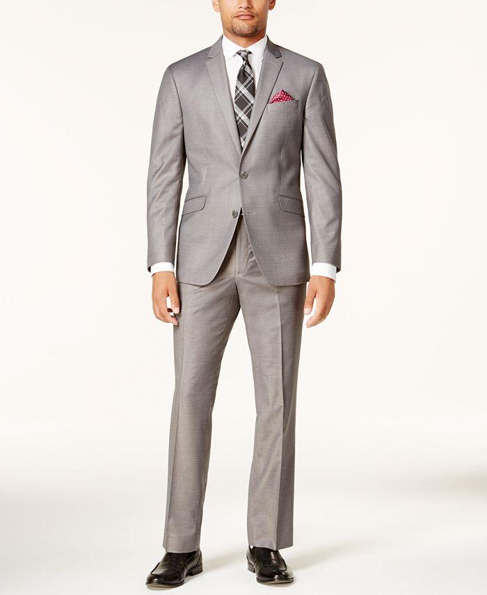 Kenneth Cole Reaction - Men's Slim-Fit Gunmetal Basketweave Suit