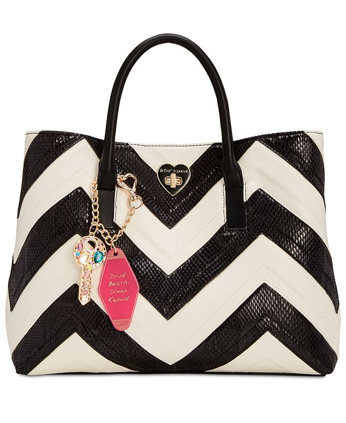 Betsey Johnson - Large Chevron Tote with Hotel Charms