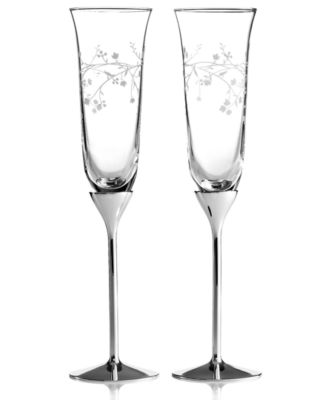 CLOSEOUT! Martha Stewart Collection Toasting Flutes, Set of 2 Trousseau Silver