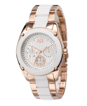 A|X Armani Exchange Watch, Women's White Silicone Wrapped Rose Gold Tone Bracelet AX5036