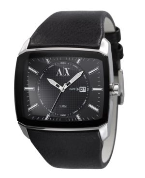 A|X Armani Exchange Watch, Men's Black Leather Strap AX2080