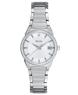 Bulova Watch, Women's Stainless Steel Bracelet 25mm 96M111
