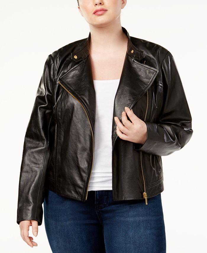 Michael Kors - Plus Size Leather Moto Jacket