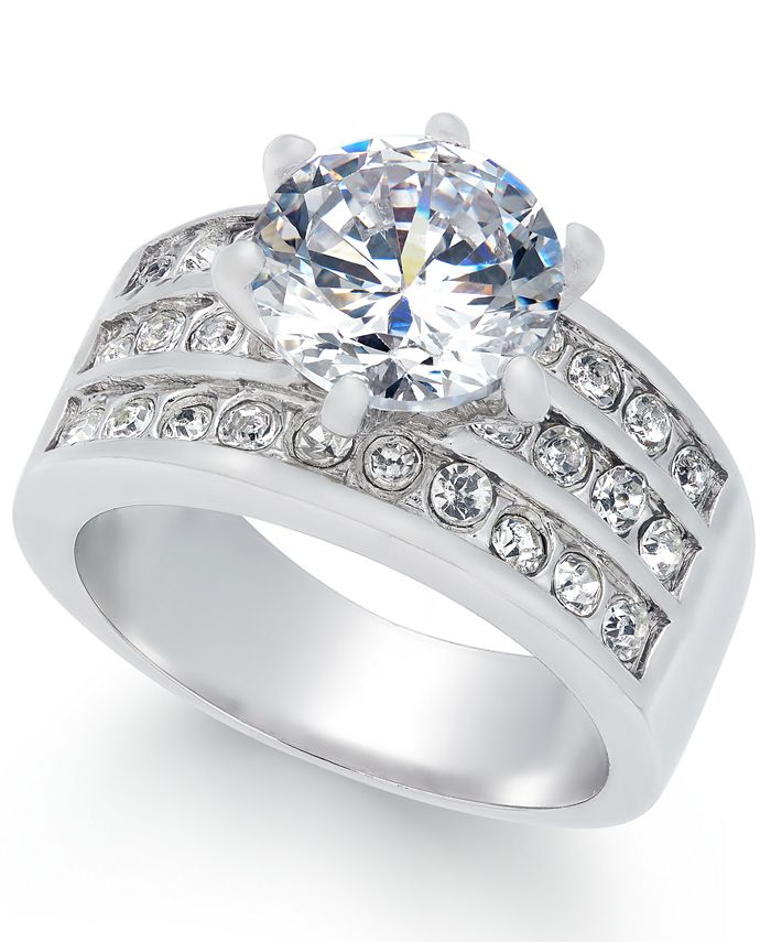 Charter Club - Fine Silver Plate Crystal Triple-Row Ring