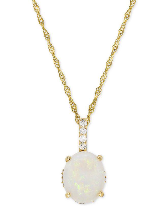 Macy's Opal (1-5/8 ct. t.w.) & Diamond (1/10 ct. t.w.) Pendant Necklace in 14k Gold