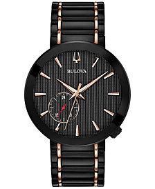 LIMITED EDITION Bulova Men's Special Latin GRAMMY® Edition Dress Black & Rose Gold-Tone Stainless Steel Bracelet Watch 42mm
