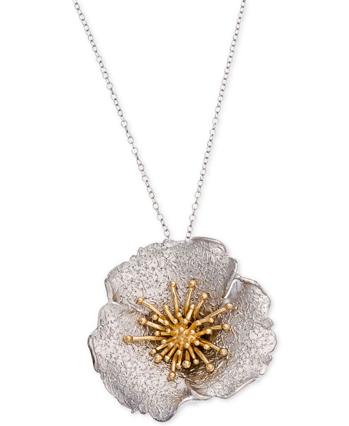 Giani Bernini - Two-Tone Hibiscus Pendant Necklace