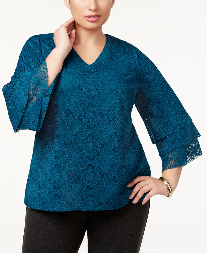 Charter Club - Plus Size Tiered-Sleeve Lace Top