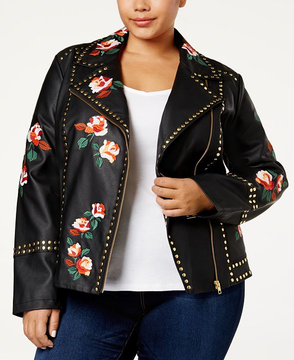 INC International Concepts Anna Sui Loves I.N.C. Plus Size Embroidered Faux-Leather Jacket, Created for Macy's