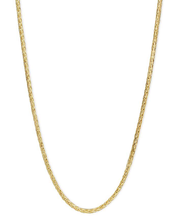"Macy's - 14k Gold Necklace, 16"" Diamond Cut Wheat Chain"