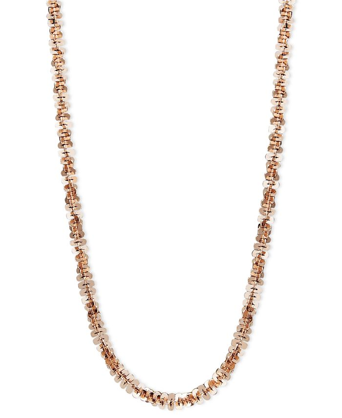 """Macy's - 14k Rose Gold Necklace, 20"""" Faceted Chain"""