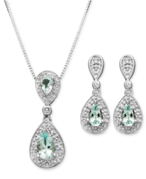 Sterling Silver Earrings and Pendant Set, Aquamarine (7/8 ct. t.w.) and Diamond Accent Teardrop