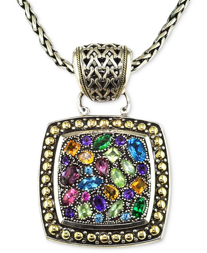 EFFY Collection - Multistone Square Pendant in Sterling Silver and 18k Gold