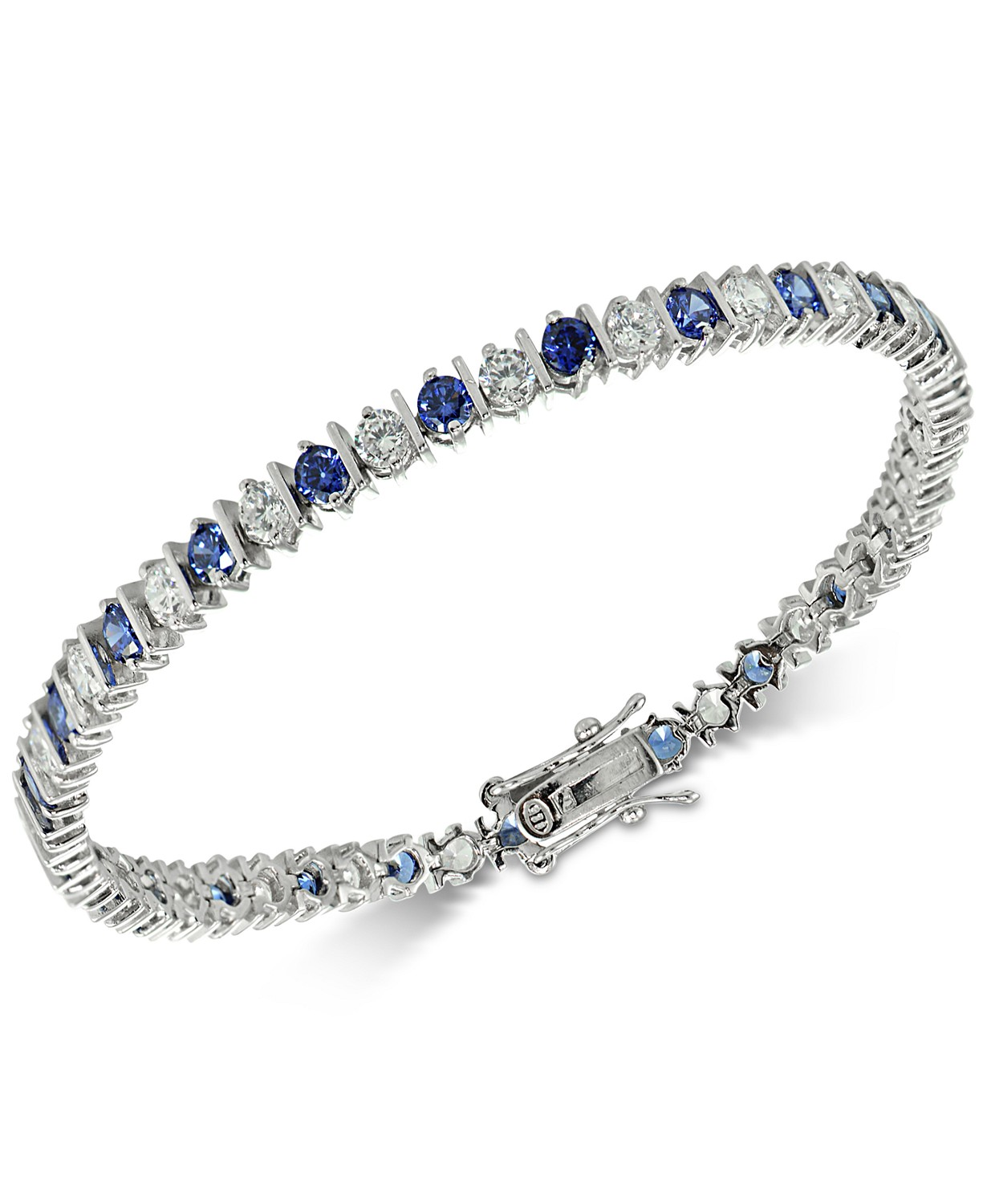 Blue Cubic Zirconia Tennis Bracelet in Sterling Silver