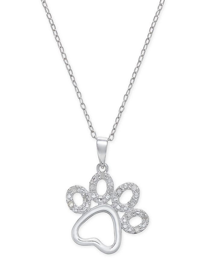 Macy's - Diamond Pawprint Pendant Necklace (1/10 ct. t.w.) in Sterling Silver