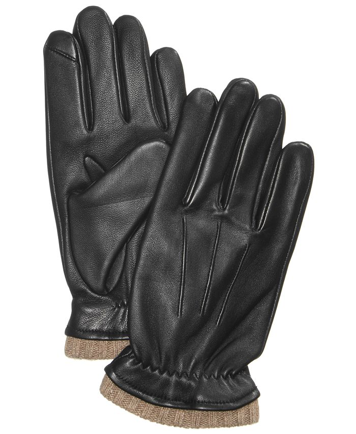 Club Room - Men's Cashmere-Lined Leather Gloves