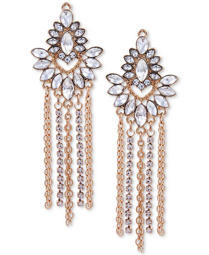 GUESS - Gold-Tone Crystal & Chain Fringe Chandelier Earrings