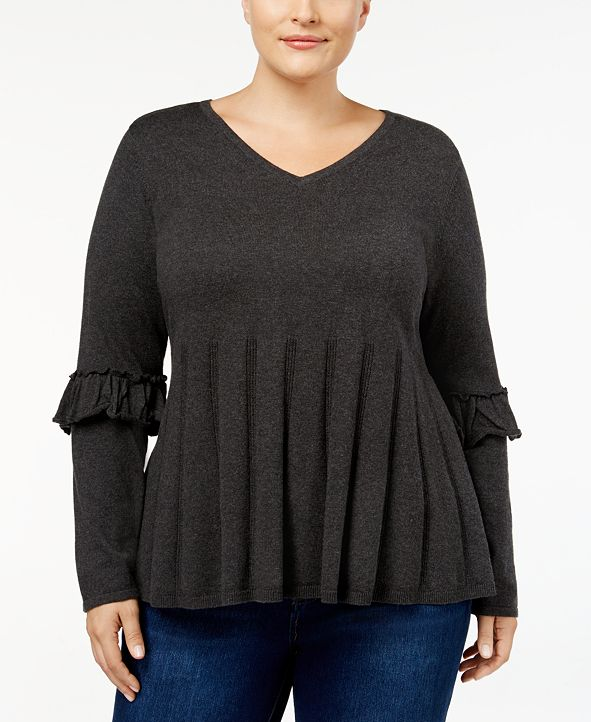 Style & Co Plus Size Ruffled-Sleeve Pleated Sweater, Created for Macy's