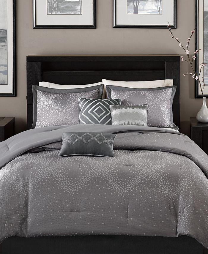 Madison Park - Quinn 7-Pc. Geometric Jacquard California King Comforter Set