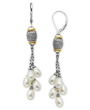 Pearl and Diamond Earrings, 14k Gold and Sterling Silver Cultured Freshwater Pearl and Diamond (1/8 ct. t.w.) Drop