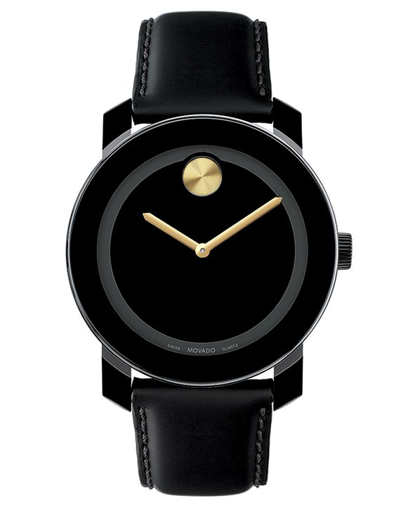 Movado Unisex Swiss Bold Large Gold-Tone Accent Black Leather Strap Watch 42mm 3600046