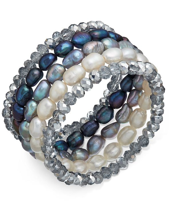 Macy's 5-Pc. Set White, Gray & Peacock Cultured Freshwater Baroque Pearl (7mm) and Rondel Crystal Stretch Bracelets