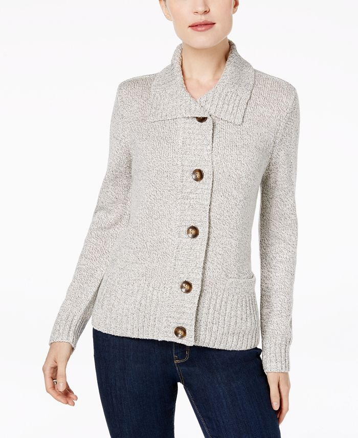 Karen Scott - Plus Size Button-Front Marled Cardigan Sweater
