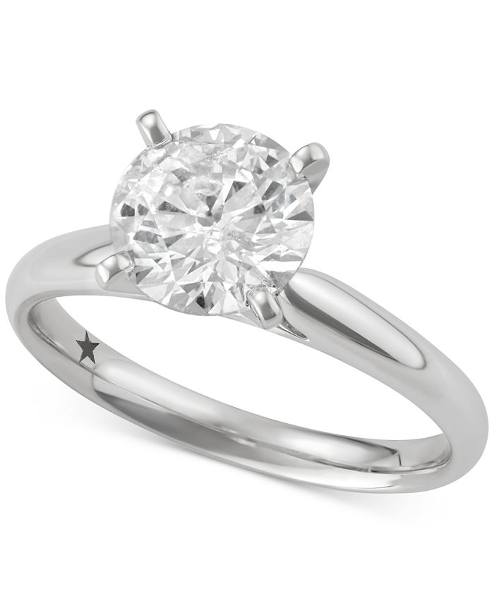 Macy's Star Signature Diamond - Certified ™ Solitaire Engagement Ring (2 ct. t.w.) in 14k Gold