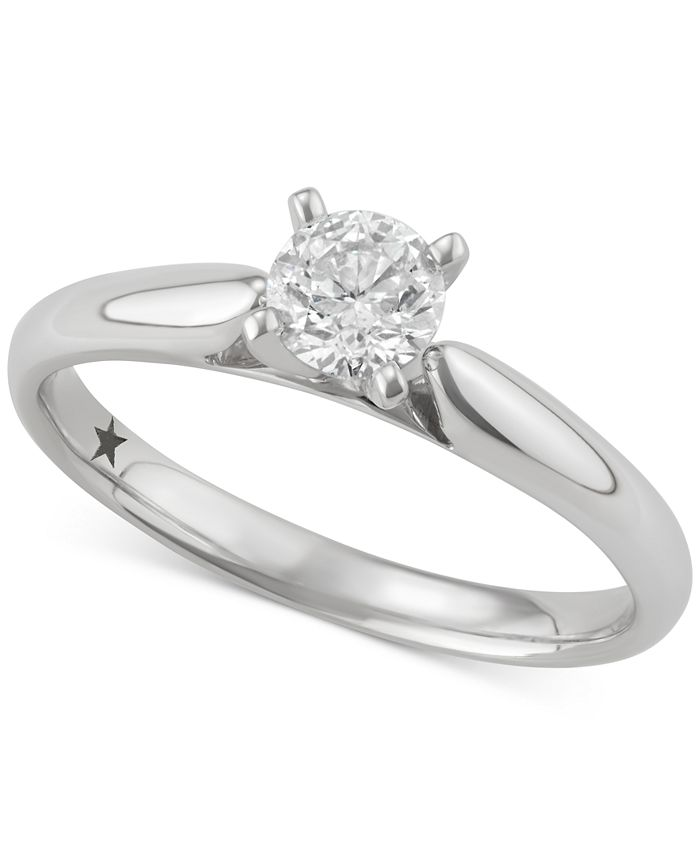 Macy's Star Signature Diamond - Certified ? Solitaire Engagement Ring (1/2 ct. t.w.) in 14k White Gold