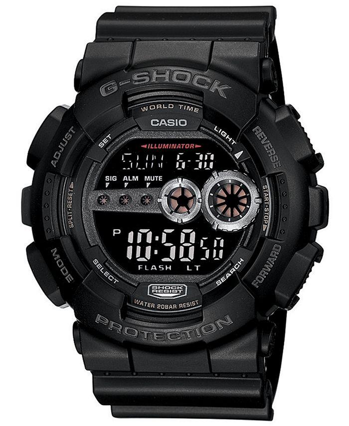 G-Shock - Men's XL Digital Black Resin Strap Watch GD100-1B