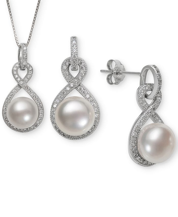 Macy's - Cultured Freshwater Pearl (8 & 10mm) & White Topaz (1-1/3 ct. t.w.) Jewelry Set in Sterling Silver