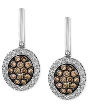 Le Vian Diamond Earrings, 14k White Gold Chocolate Diamond (5/8 ct. t.w.) and Diamond Accent Oval Drop