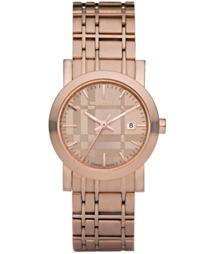 Burberry Watch, Women's Rose Gold Plated Stainless Steel Bracelet 28mm BU1866