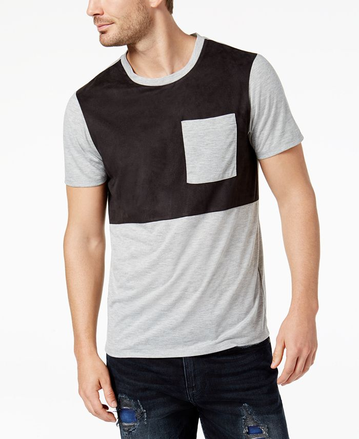 GUESS - Men's Colorblocked Pocket T-Shirt with Faux-Suede Panel
