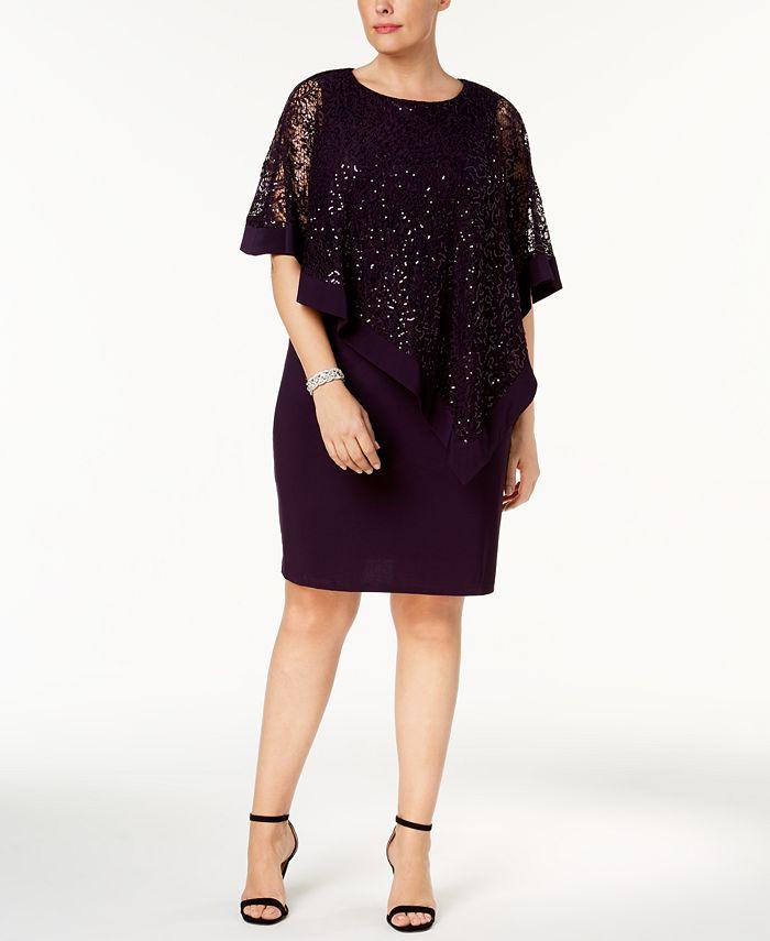 R & M Richards - Plus Size Sequined Lace Cold-Shoulder Cape Dress