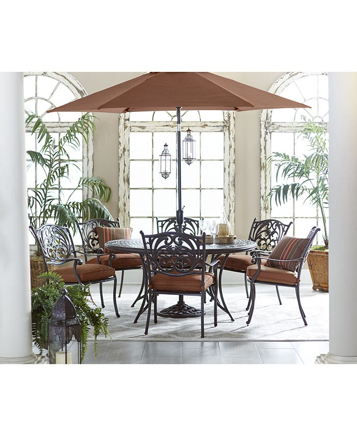 """Furniture - Chateau Outdoor 7 Piece Set: 60"""" Round Dining Table and 6 Dining Chairs"""