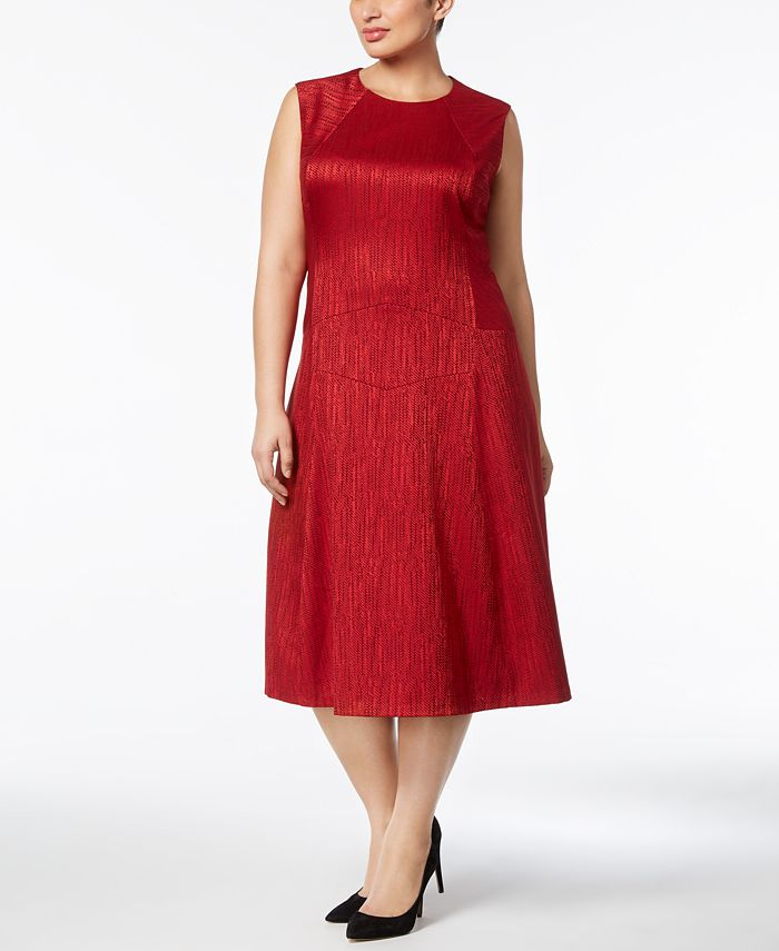 Anne Klein - Plus Size Jacquard Fit & Flare Midi Dress