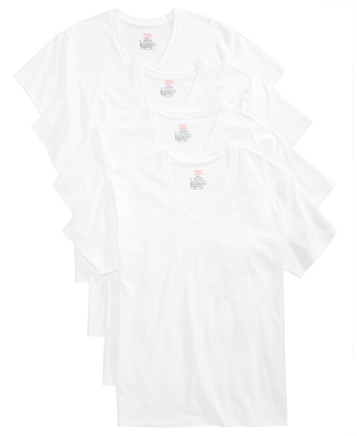 Hanes - Men's 4-Pk. Platinum Stretch V-Neck T-Shirts
