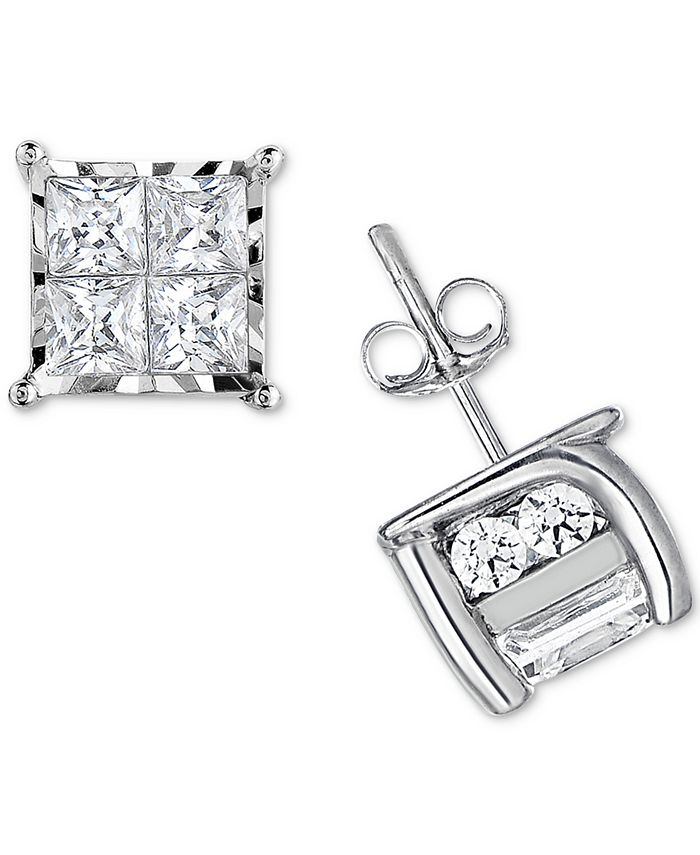 TruMiracle - Diamond Quad Stud Earrings (1/2 ct. t.w.) in 14k White Gold