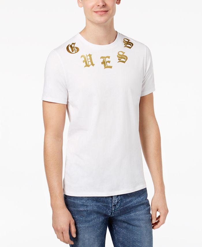 GUESS - Men's English Metallic Logo-Print T-Shirt