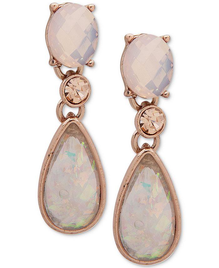 Anne Klein - Rose Gold-Tone Pink Stone Drop Earrings