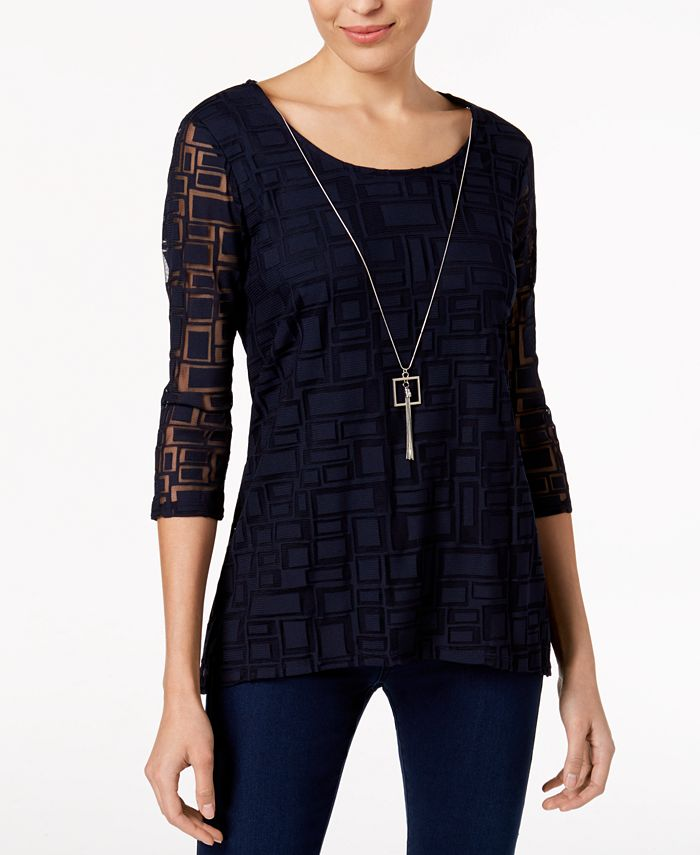 JM Collection - Attached-Necklace Mesh Top
