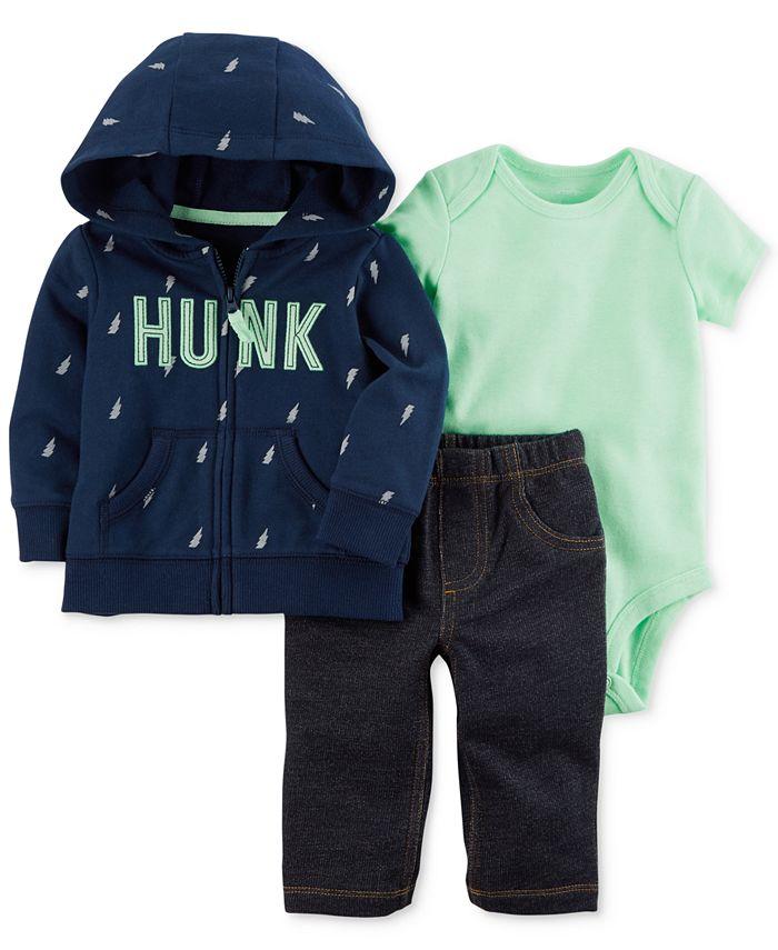Carter's - 3-Pc. Cotton Hoodie, Bodysuit & Pants Set, Baby Boys (0-24 months)