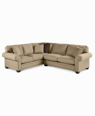 Raja fabric microfiber sectional sofa 2 piece 112quotw x 98 for Macys rylee sectional sofa